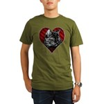 Kitty Heart Organic Men's T-Shirt (dark)