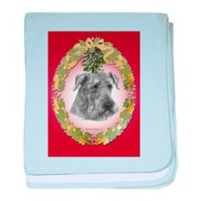Airedale Terrier Christmas baby blanket