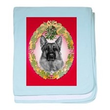 German Shepherd K9 Christmas baby blanket