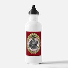 Long-Haired Dachshund Christm Water Bottle