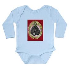 Black Poodle Christmas Long Sleeve Infant Bodysuit