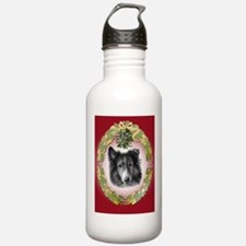 Rough Collie Christmas Water Bottle