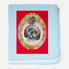 Shih Tzu Christmas baby blanket