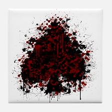 Splatter spade - red Tile Coaster