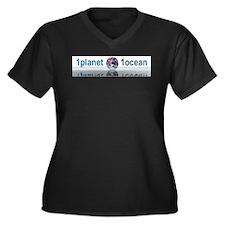 1planet1ocean Women's Plus Size V-Neck Dark T-Shir