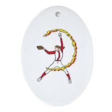 Womens Softball Pitcher Ornament (Oval)