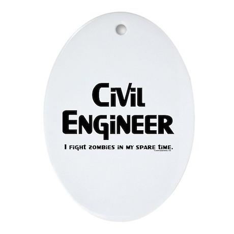 Civil Zombie Fighter Ornament (Oval)