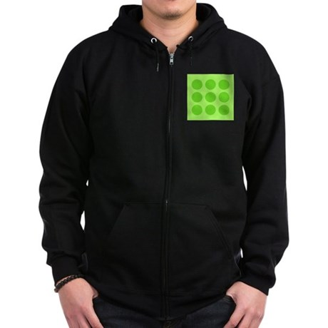 'Green Polka Dot' Zip Hoodie (dark)