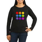 'Rainbow Polka Dot' Women's Long Sleeve Dark T-Shi