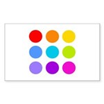 'Rainbow Polka Dot' Rectangle Sticker 10 pk)