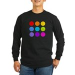 'Rainbow Polka Dot' Long Sleeve Dark T-Shirt