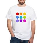 'Rainbow Polka Dot' White T-Shirt