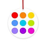 'Rainbow Polka Dot' Ornament (Round)