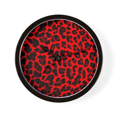 Red & Black Leopard Print Wall Clock