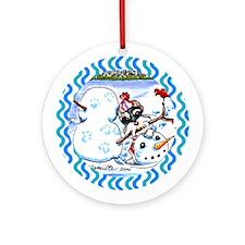 Schnauzer n Snowman Ornament (Round)