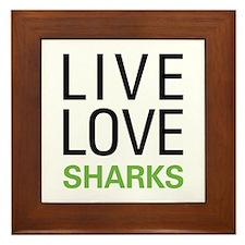 Live Love Sharks Framed Tile