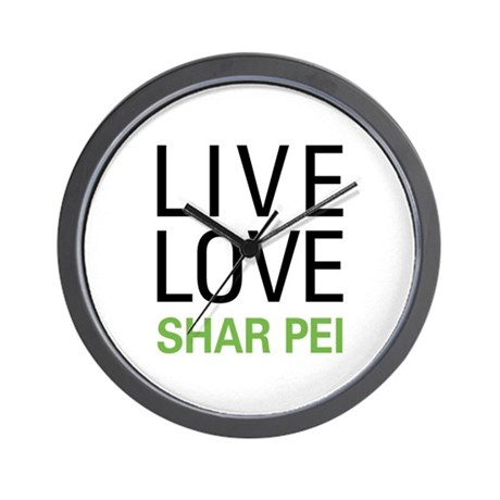 Live Love Shar Pei Wall Clock