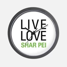 Live Love Shar Pei Wall Clock