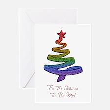 gaypridechristmastree Greeting Cards