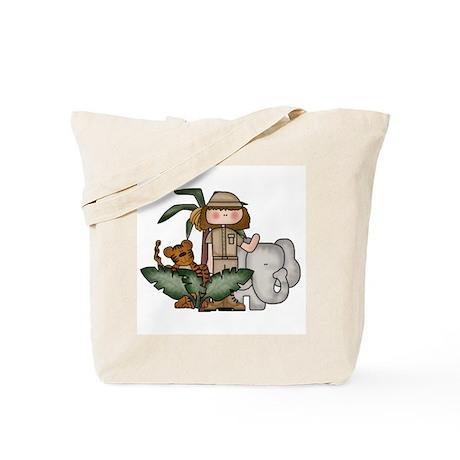Girl Jungle Safari Tote Bag