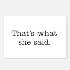 That's what she said Postcards (Package of 8)