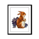 Sitting Rabbit with Flowers Framed Panel Print