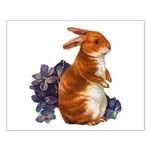 Sitting Rabbit with Flowers Small Poster