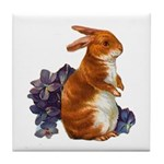 Sitting Rabbit with Flowers Tile Coaster