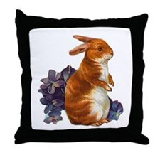 Sitting Rabbit with Flowers Throw Pillow