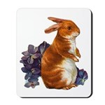 Sitting Rabbit with Flowers Mousepad