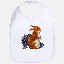 Sitting Rabbit with Flowers Bib