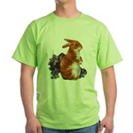 Sitting Rabbit with Flowers Green T-Shirt