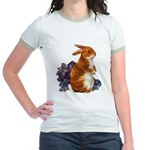 Sitting Rabbit with Flowers Jr. Ringer T-Shirt