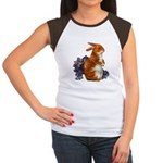 Sitting Rabbit with Flowers Women's Cap Sleeve T-S