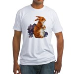 Sitting Rabbit with Flowers (Front) Fitted T-Shirt