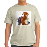 Sitting Rabbit with Flowers (Front) Ash Grey T-Shi