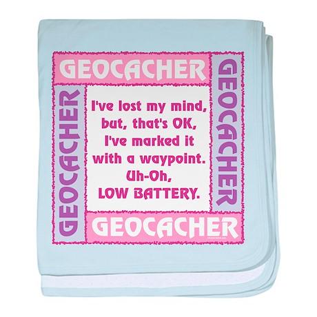 Pink Geocacher Lost Mind baby blanket