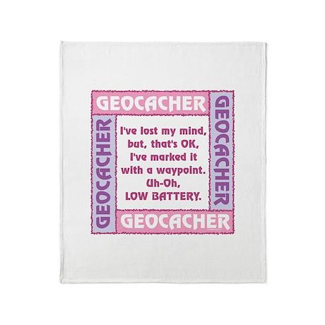 Pink Geocacher Lost Mind Throw Blanket