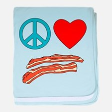 Cute Peace sign bacon baby blanket
