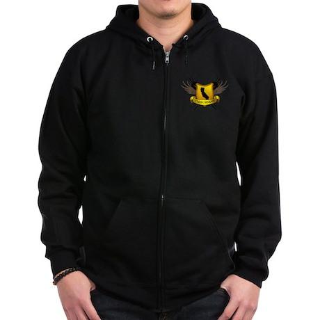 Black and Gold Crest - Calif Zip Hoodie (dark)