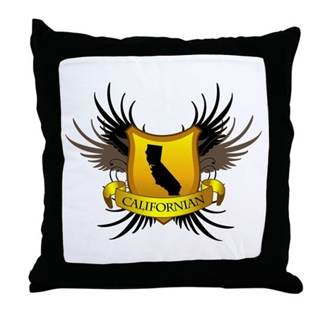 Black and Gold Crest - Calif Throw Pillow