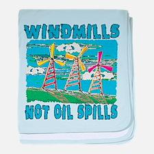 Windmills Not Oil Spills baby blanket