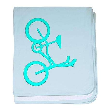 Aqua Blue Bicycle baby blanket