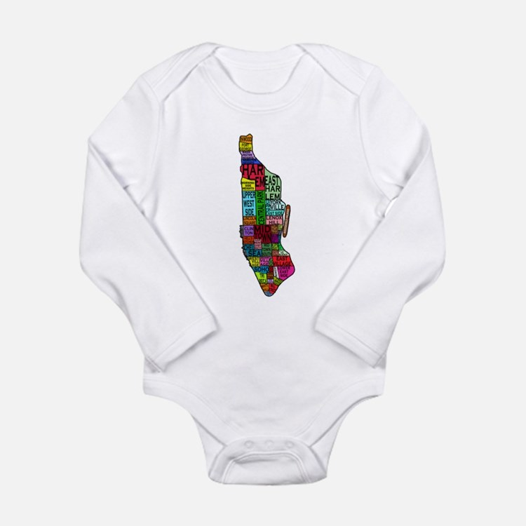 NYC Color Coded Map Long Sleeve Infant Bodysuit
