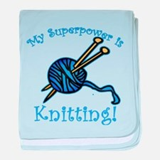 My Superpower is Knitting baby blanket