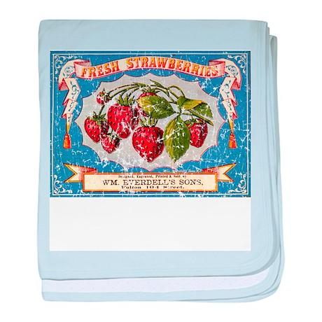 Fresh Strawberries Label baby blanket