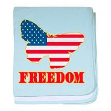 Flag Butterfly Freedom baby blanket
