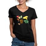 Autumn Leaves Women's V-Neck Dark T-Shirt