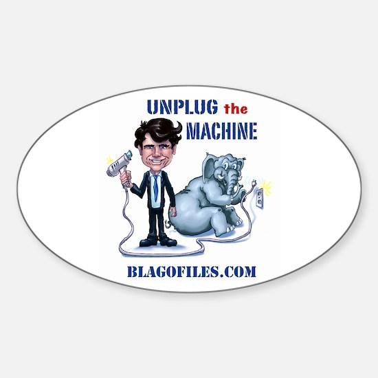 Unplug The Machine Sticker (Oval)