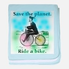 Save the Planet Ride a Bike baby blanket